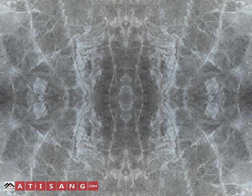 سنگ فورمچ مرمریت پرشین سیلک با کیفیت فوقالعادهتولیدی گروه آتیسنگ با زمینه خاکستری در اندازههای استاندارد اسلب