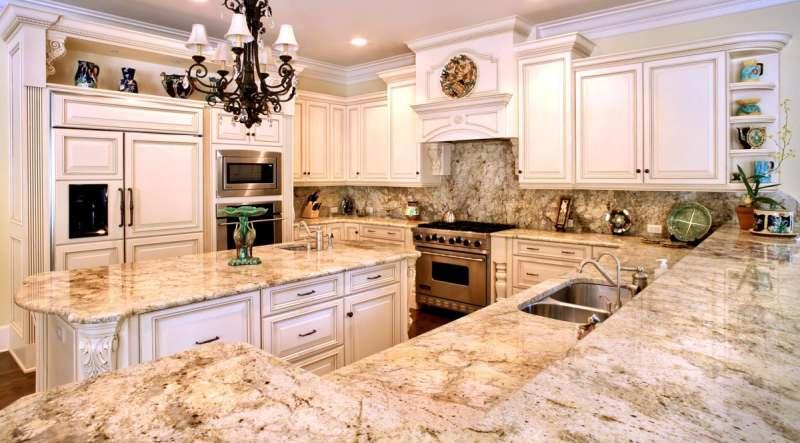استفاده سنگ طبیعی در نمای آشپزخانه